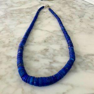 Vintage Blue Lapis Stone Disc Choker Necklace